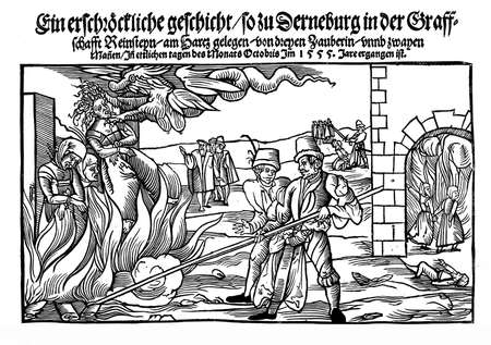 Vintage engraving of 1555, execution of women convicted as witches Stock Photo