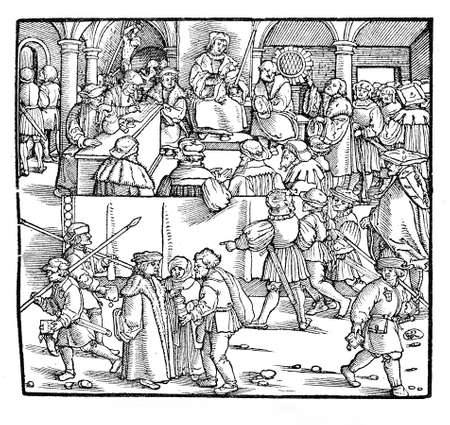 strasbourg: Justice and punishment administration in Strasbourg,  engraving from 1530
