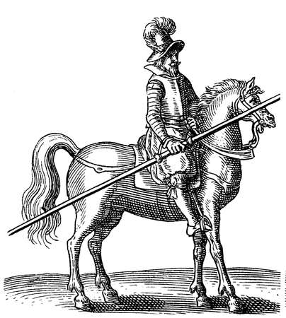 lance: Vintage engraving of 1616, thirty years war rider with armor and lance