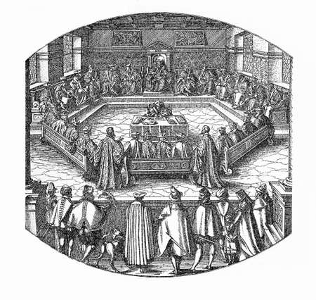 magistrates: Magistrates council with recording clerk, XVI century