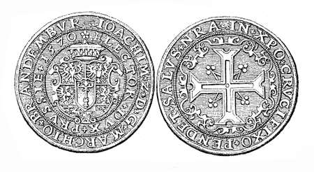 hector: Germany, silver ducat from 1570 of Joachim II Hector Elector of Brandenburg, vintage engraving