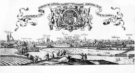 city coat of arms: Year 1552, Nuremberg birds eye view and city Coat of arms