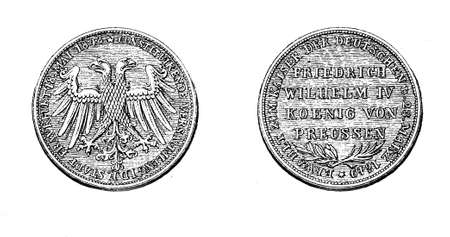 gulden: XIX century vintage engraving, gulden from 1848 of Frederick William IV of Prussia
