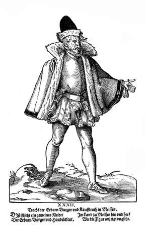 Nurenberg, year 1547 -Man dress (Tracht) from a fashion book