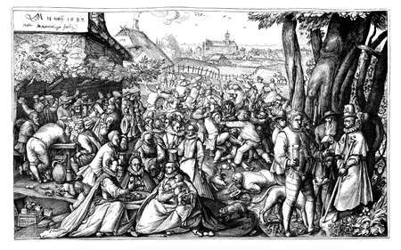 lifestyle outdoors: Vintage engraving 1587, bourgeoisie lifestyle and leisure at the country tavern outdoors, Stock Photo