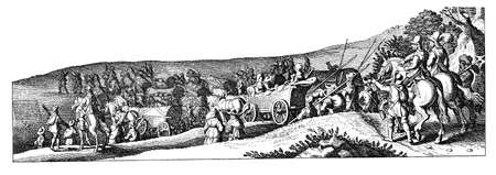 Year 1633, baggage caravan following the army at the Thirty Years War