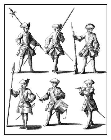 xviii: Prussia, military types and characters, XVIII century Stock Photo