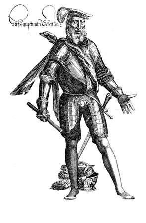 peasant: Vintage engraving portrait of Sebastian Schertlin von Burtenbach (1495-1577) served the Swabian League in the peasant war in XVI century Stock Photo