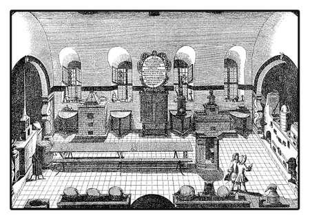 Chemistry laboratory at Altdorf University near Nuremberg, XVIII century vintage engraving