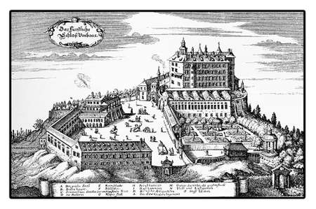 archduke: Year 1677 vintage engraving of Ambras Renaissance castle on the hills above Innsbruck