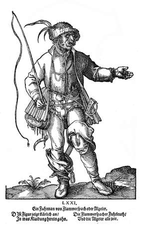 tracht: Nurenberg, year 1571 -Men dress for sport and fishing  (Tracht) from a fashion book