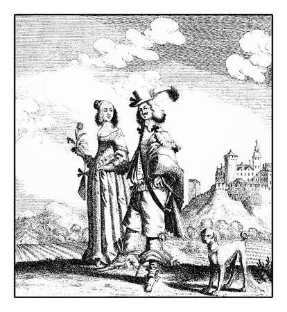 petticoat: Portrait of couple walking with dog, German costumes XVII century