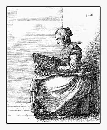 modest fashion: Year 1636, young bobbin lace maker, engraving portrait