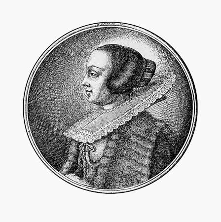 modest fashion: Austria year1664 engraving, noble dame portrait  with hair pinned up under an an indoor cap and a large lace collar Stock Photo