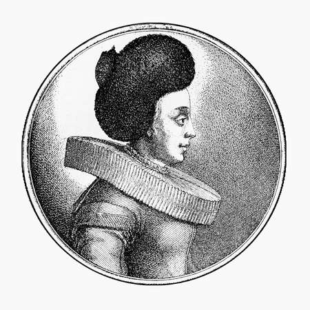 ruff: XVII century engraving, merchant woman of Frankfurt portrait with hair pinned up under an indoor cap and a large ruff Stock Photo