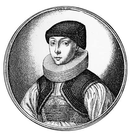 strasbourg: Year 1622, portrait of young bourgeois woman of Strasbourg with cartweehl collar and indoor cap Stock Photo