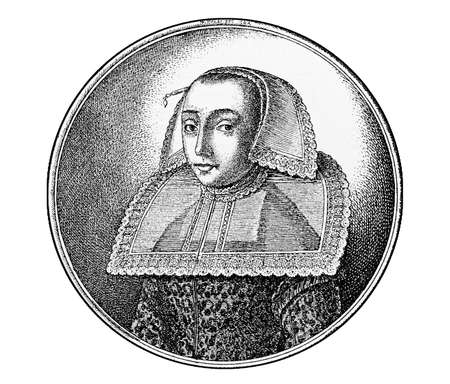 Year 1643  engraving, merchant woman of Hanau Germany portrait with hair covered   under an indoor cap and a large lace collar