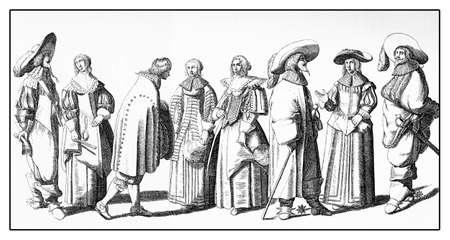 puffed: European fashion outdoors, costumes and lifestyle, XVII century Stock Photo