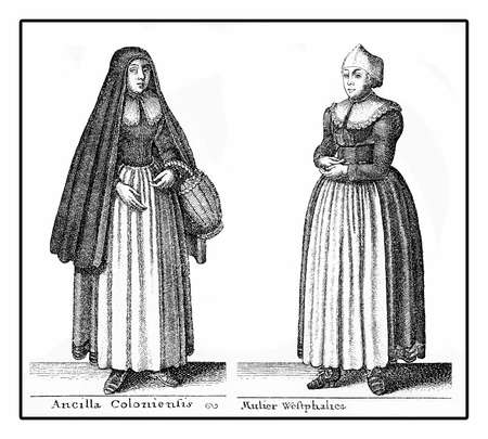 modest fashion: Germany, portrait of young women in working class fashion costumes in XVII century, vintage engraving