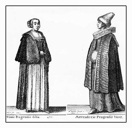 cartwheel: Portrait of young women bourgeoisie of Prague, fashion costumes in XVII century, vintage engraving