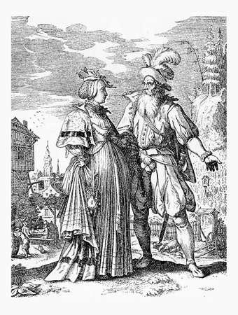 doublet: German costumes, men and ladies wear late XVII century