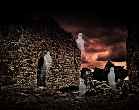 Abbey ruins and tombstones infested by Halloween ghosts Stock Photo