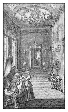 petticoat: Dame dressing room, XVIII century, an intimate  ladies  place for toilet, make up and dressing