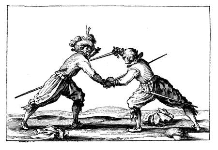 17th: XVII century, students dueling, very popular activity in Germany, a way to showing courage and prowess. Stock Photo