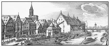strasbourg: XVII Century, Wine market in Strasbourg near the Rhine river, vintage engraving