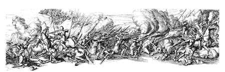thirty: XVII century, Thirty Years War (1618 - 1648) armies fighting, vintage engraving