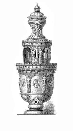 chiseled: Artistic beer tankard with medallions and portraits, XVI century Stock Photo