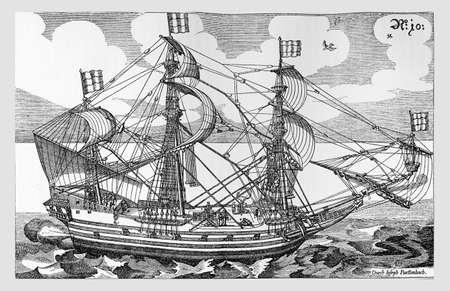 frigate: Year 1629, naval architecture three mast frigate