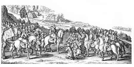 victor: Thirty Years War, prisoners kneeling in front of the victor Stock Photo