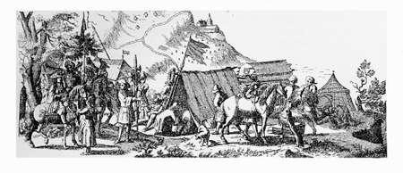 thirty: XVII century, Thirty Years War, ammunition storage camp, vintage engraving