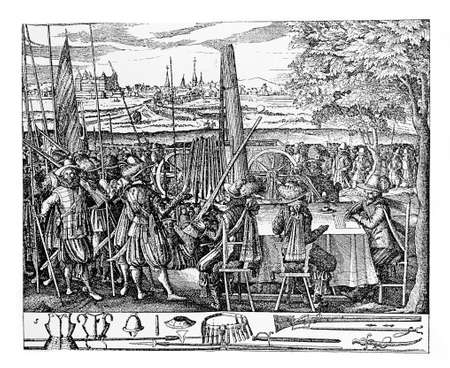thirty: XVII century, recruiting army for the Thirty Years War Stock Photo