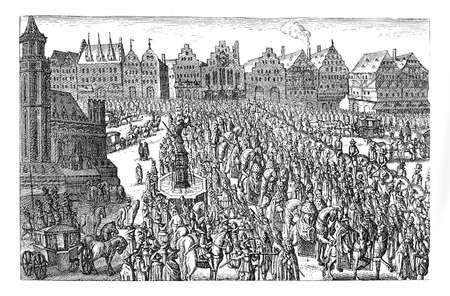 habsburg: Ferdinand II of Habsburg crowning as Holy Roman Emperor in Frankfurt, year 1619