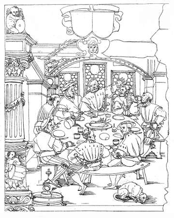 16th century: XVI century lifestyle, company of friends drinking leisurely in tavern