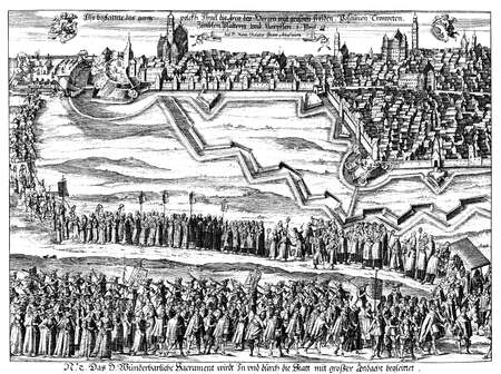city view: Augsburg, Germany city view in XVII century on occasion of a  religious cortege accompanying the sacrament