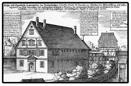 17th: The Maleficent House in Bamberg which built in 1627 by Prince Bishop Johann George II and was a torture jail of the Catholic Inquisition. The monumental building Looked like a church Stock Photo