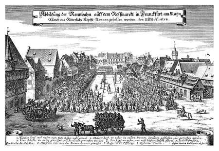 frankfurt: Frankfurt Germany, year 1658 engraving representing the horse race in Rossmarkt Stock Photo