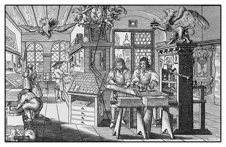 movable: Vintage engraving describing a Renaissance workshop to print books with wooden press and movable character types Stock Photo