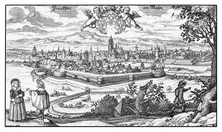 historical: Germany,  Aerial view of Frankfurt fortified city on river Main in XVII century Stock Photo