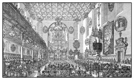 xviii: Year 1703, divine service at Holy Cross Church in Augsburg