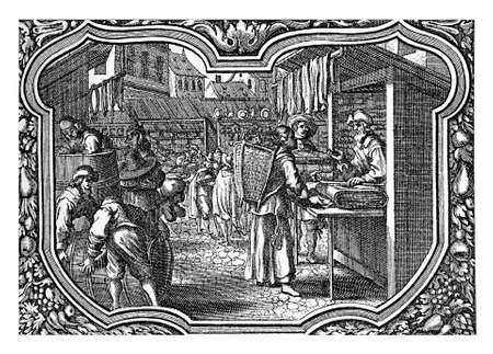 17th: Germany, XVII century city view with festive market, people buying food, drinks and cloths, engraving within decorated frame