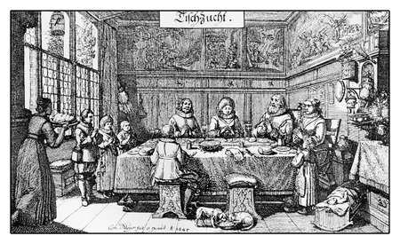 17th: Year 1645, Germany vintage engraving: family reunited at table in the dining room giving grace to the Lord  before supper