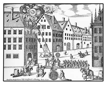 water hoses: Nuremberg, year 1658, men at work with water hoses to extinguish flames high in a building roof Stock Photo