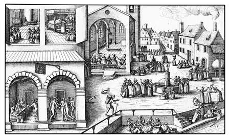 XVII century, women every day life in Germany: sleeping ,bathing, eating, chatting, buying, making domestic chores, vintage engraving