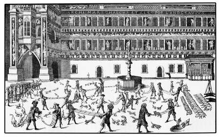 tossing: Fox tossing tournament in Dresden castle courtyard in year 1678. Fox tossing was an aristocratic sport in XVII century, its goal was to throw live foxes high in the air with slings until death of the animal.