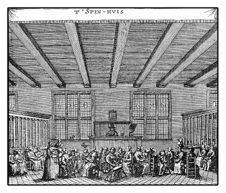 spinning wheel: Amsterdam year 1664, factory hall with women at work with the spinning wheel
