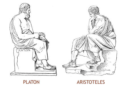 Hellenic Statues of Platon and Aristoteles ancient Greek philosophers and scientists